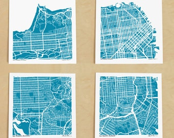 San Francisco Map, Quadriptych of Hand-Drawn maps of San Francisco California