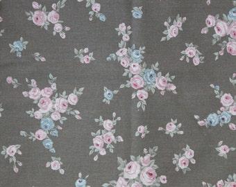 vintage ann es 60 ou 70 tissu brun fleurs par oliviavintagekids. Black Bedroom Furniture Sets. Home Design Ideas