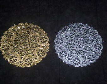 5 inch silver or gold medallion doilies,5 inch dia,foil paper lace,20/pkg,cardmaking,decoupage,scrapbooking,collage,wedding,pastry baskets