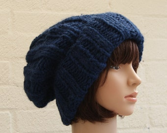 Extra large Knitted Slouchy Blue Beanie hat, Oversized knitted Beanie hat, Chunky knit slouchy hat, winter hat