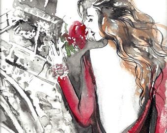 Parisian Girl Paris Je T'aime- Fashion Print Watercolor Painting - Modern Home Decor - Paris Red Love Romance - Fine Art Print