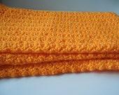 Baby Blanket Afghan or Lapghan - Orange Mango - Crochet