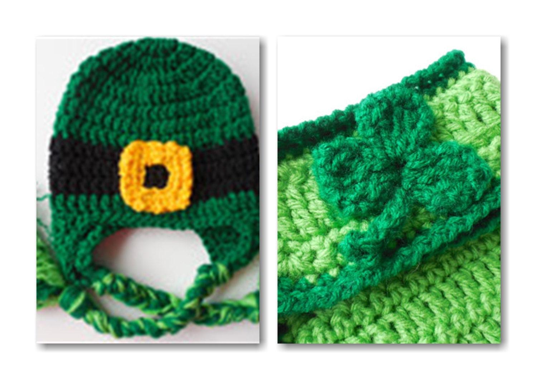 Crochet Baby Leprechaun Hat Pattern : Leprechaun Hat and Diaper Cover Baby Set St Patricks Day