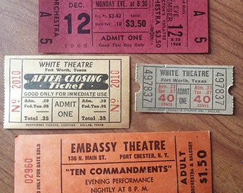 Vintage theater and movie tickets, set of 4