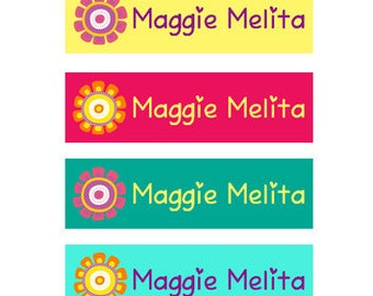Custom Clothing Labels Iron on Labels Personalized Iron on Clothes Tags Daycare Name Labels School Camps - Uncut - Flowers