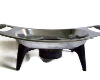 Mid Century Vintage Chrome Warming Dish with Black Handles and Legs, Retro Kitchen, Housewarming Gift, Wedding Gift, Hotplate, Food Warmer
