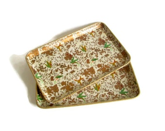 Vintage, Serving Trays, Paper Mache, Cocktail Trays, Gold and Green Bird Motif, Set of 2, Home Decor, Cottage Chic-Alcohol Proof-Japan