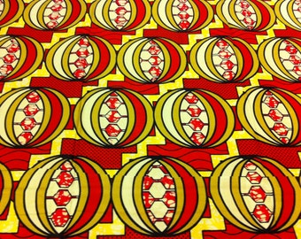Dutch Hollandais--African Wax Print Fabric--Ankara Fabric--Red, Pink, Yellow, Gold Orbs --Fabric by the HALF YARD