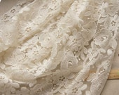 off white Lace Fabric, Embroidered Lace Fabric, cotton fabric lace, wedding table cloth, curtain fabric lace, by the yard apple tree flower