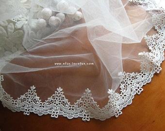 off white Lace Trim, bridal lace trim, ivory lace trim, guiure lace trim, scalloped trim for veil