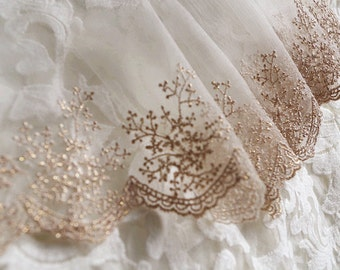 rose gold lace, golden embroidered lace trim, baroque gauze lace, luxury lace, scollaped lace, vintage lace, antique lace, bridal lace