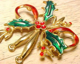 Vintage Holly and Bow Christmas Brooch (retro 70s 80s enamel red green gold tone holiday big large pin stocking stuffer gift topper)