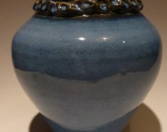 tall blue rope vase