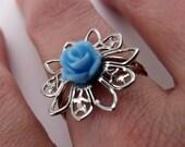 Filigree Ring - Sky Blue Rose, Platinum-plated