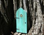Aqua Verdigris Fairy Door Miniature Tooth Fairy Door Little People Magic Door Turquoise Art Acrylic Painting on Wood by Paris Cabinet
