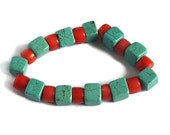 OOAK Chunky Turquoise and Coral Stretch Bracelet, Magnesite and Coral Geometric Beaded Bracelet, Gemstone Bracelet, Spring Summer Colors