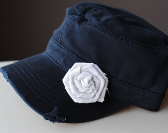 Womens Hats, Womens Cadet Hats, Womens Gifts, Womens Trucker Hats, Wimens Flower Hats Linen Cadet Hat Distressed Military Style Hats
