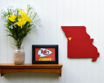 """Kansas City Chiefs """"State Heart"""" wall art, handcrafted wood with official team colors"""