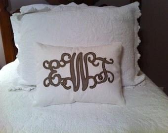 Linen Monogram pillow cover