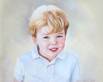 Pastel portrait of a child, portrait painting