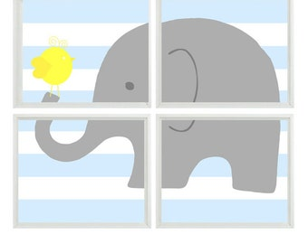 Elephant Nursery Art  Bird - Gray Yellow Light Blue Stripes  - Print     - Baby Boy Room - Custom Wall Art Home Decor