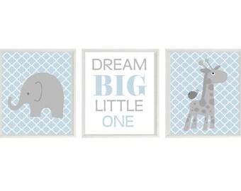 Elephant Giraffe Nursery Wall Prints - Dream Big Little One Quote -Gray Light Blue Quatrefoil - Baby Boy Nursery Modern Baby  Home Decor
