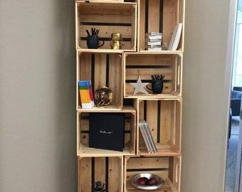 9PC, Rustic Wooden Apple Crate bookshelf - unstained