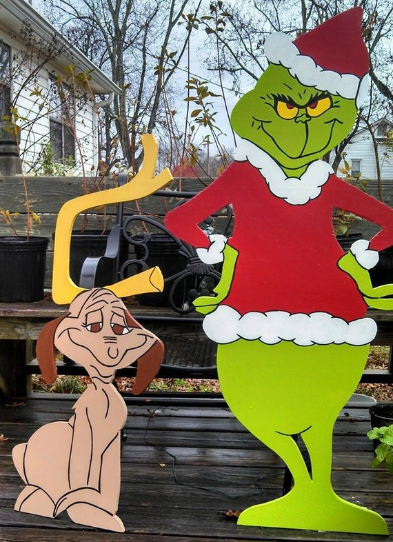 48 grinch and 36 max christmas yard art by woodartandsuch for Wooden christmas yard decorations patterns