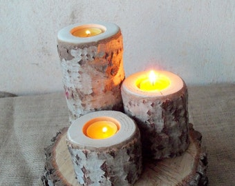 3 Wood Candle Holders - Table Centerpiece -  Wood Log Holders - White Tree Candle Holders - Wedding Decoration - Home Decoration