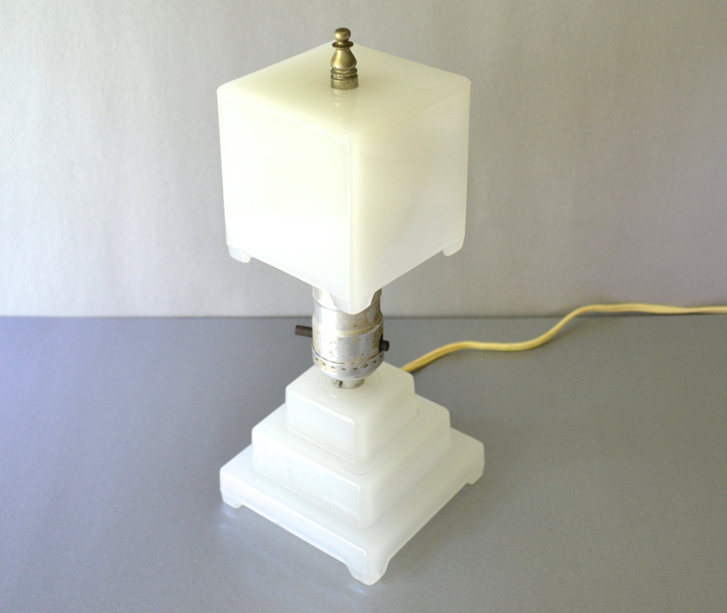 Art Deco Milk Glass Table Lamp And Shade Houze Type
