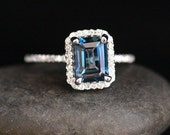 14k White Gold 8x6mm London Blue Topaz Emerald Cut and Diamonds Wedding or Engagement Ring (Choose color and size options at checkout)