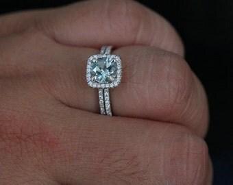 14k white gold 7mm aquamarine round single cushion halo diamond ring and wedding band set - Wedding Band For Halo Ring