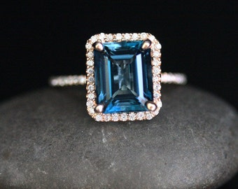Rose Gold London Blue Topaz Engagement Ring 14k Rose Gold with London Blue Topaz Emerald Cut and Diamond Halo Ring