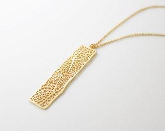 mesh bar long necklace