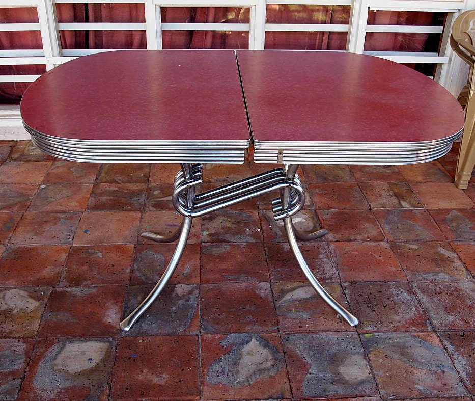 Vintage Formica Kitchen Table Raspberry Chrome Spider Legs