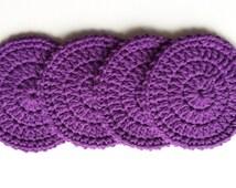 Crochet Coasters - Set of 4 - Royal Purple
