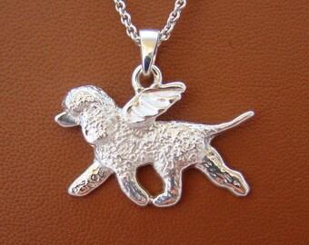Sterling Silver Irish Water Spaniel Angel Pendant