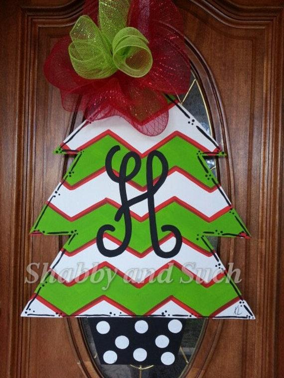 Chevron Christmas Tree Door Hanger Door Decor Holiday