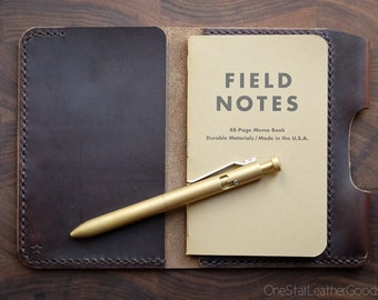 """Notebook cover + pen sleeve, 3.5x5.5"""" - hand stitched Horween Chromexcel leather - brown"""