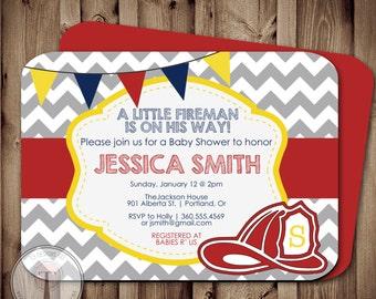 Fireman BABY SHOWER Invitation, Fire Fighter Shower, Fireman, Firemen, Boy Baby  Shower