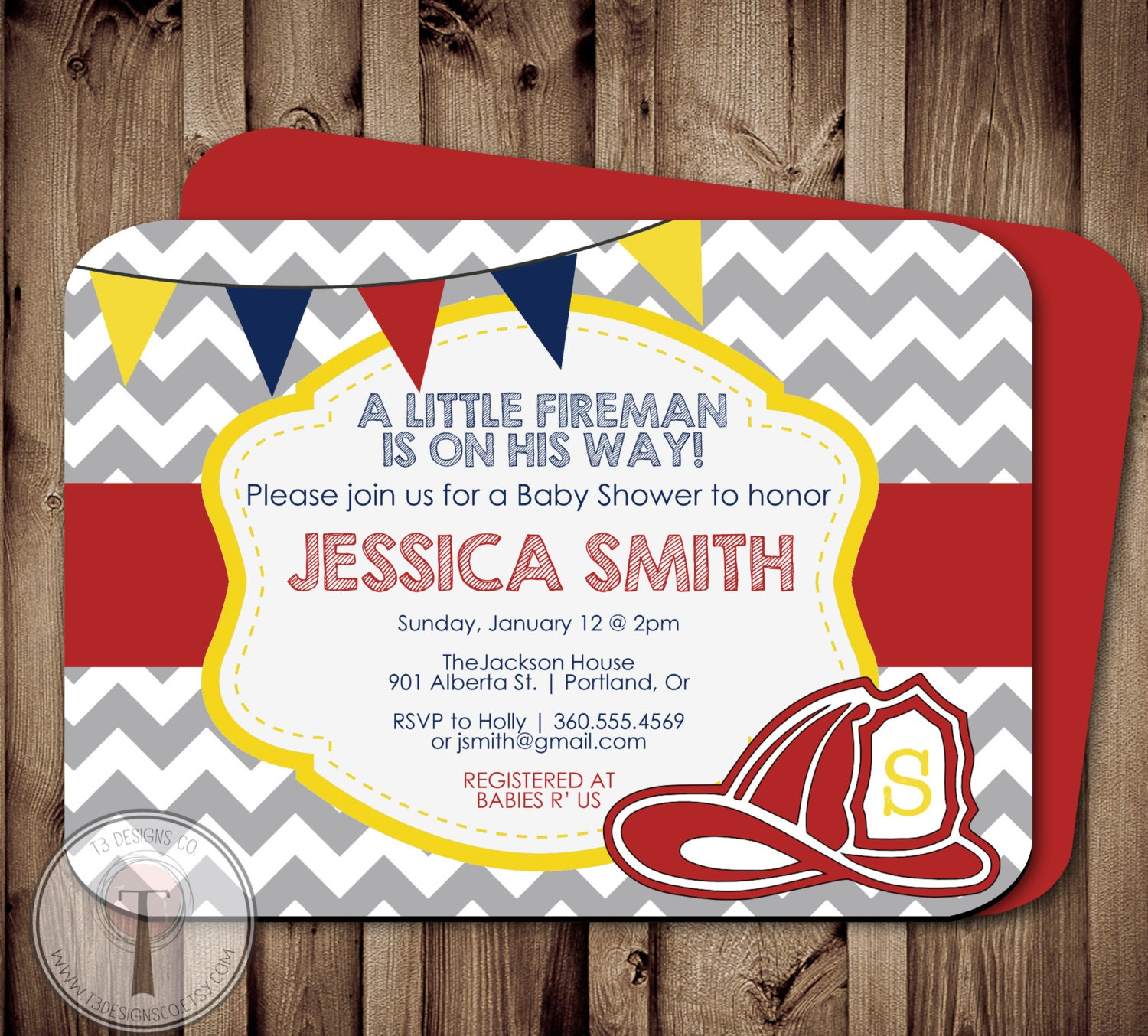 Fireman BABY SHOWER Invitation, Fire fighter shower, fireman ...