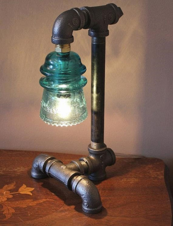 Gas pipe and insulator lamp large for Gas pipe lamp