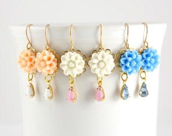 Mum/Dahlia Flower Earrings, Flower Drop Earrings, Retro Flower Earrings, Pastel Flower, Peach, White, Blue
