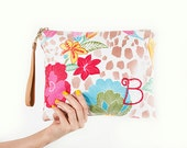 "Personalized Floral Linen Clutch, iPad Clutch, Bridesmaid Clutch ""Maya"""