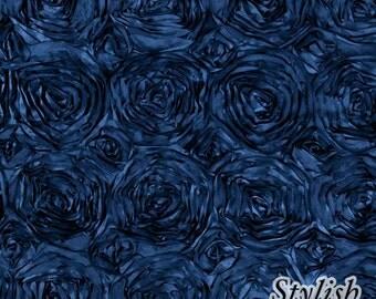 Navy Satin Rosette Fabric, Floral Satin Fabric, 3D Rosette Fabric by the yard, Rosette Fabric Flower Satin- Style 1601