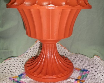 Vintage Plastic Florist Planter Up Cycled with Orange Paint, S