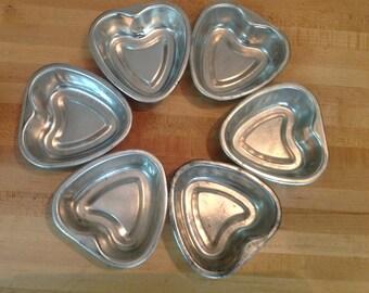 Six Vintage Heart Tart Tins Jello Molds