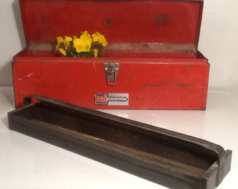 Vintage Red Toolbox with Tray, Red Metal Toolbox