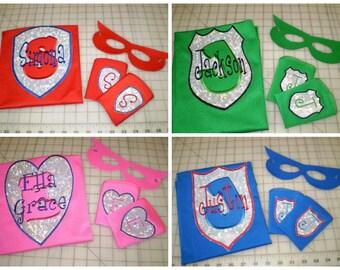 Costume  SuperHero cape, mask & super power cuffs Set - many color and emblem choices You Design