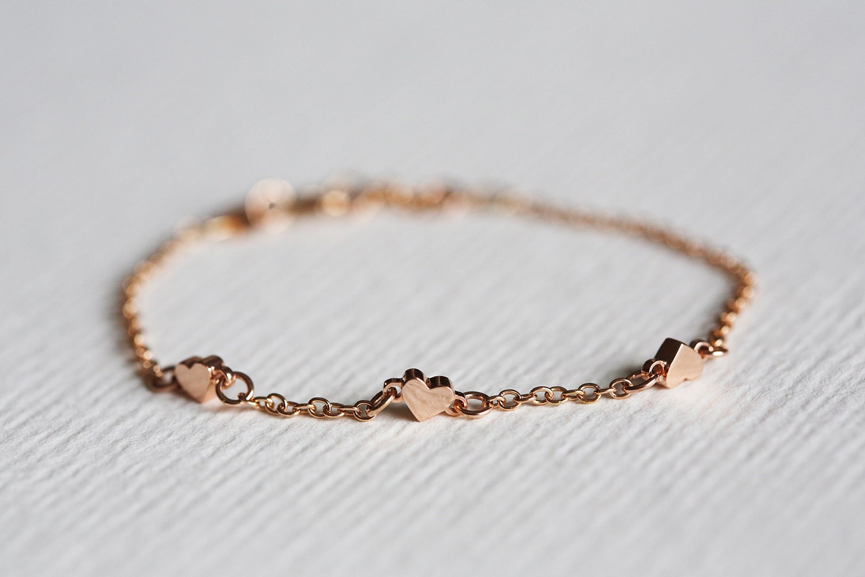 rose gold heart bracelet tiny heart bracelet three hearts. Black Bedroom Furniture Sets. Home Design Ideas